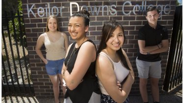 High-achieving Keilor Downs High School students (from left) Laura Nield, Monique Volf, Nguyet Cao and Branislav Obradovic.
