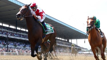 Beautiful music: Songbird with jockey Mike Smith up wins the Ogden Phipps at Belmont Park to record her 12th victory from 13 starts.