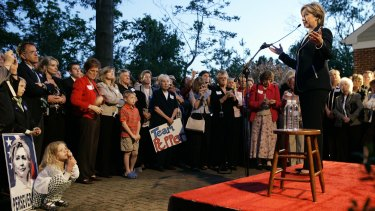 Backyard effort: Hillary at a private residence during a fundraiser in Fort Mitchell, Kentucky in 2008.