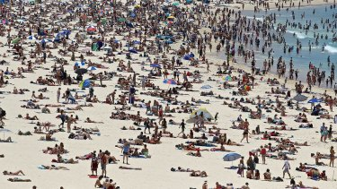 A crowded Bondi Beach in summer.