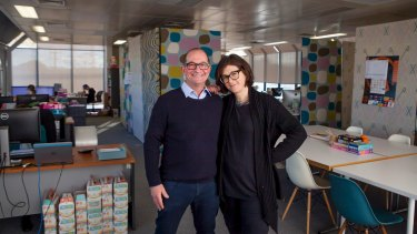 Founders Anthony and Naomi Green in their offices which have expanded from the initial garage set up.