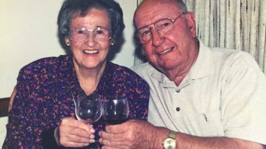 Jim Woods with his wife Rene on their 60th wedding anniversary in 1998.