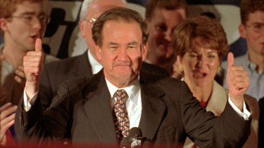 Pat Buchanan wins the New Hampshire primary in 1996.