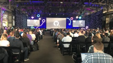 The audience listens on at GitHub Universe 2017.