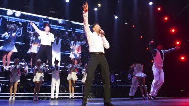 Hugh Jackman on stage for his latest show, Broadway to Oz.
