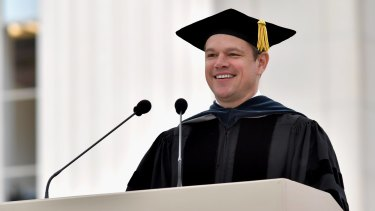 Matt Damon delivers the commencement address to graduating students at MIT.