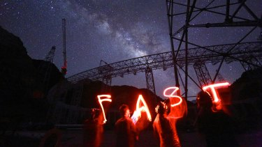 The FAST radio astronomy observatory in Guizhou Province, southwest China.