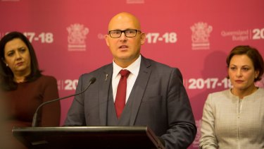 Premier Annastacia Palaszczuk, Treasurer Curtis Pitt and Deputy Premier Jackie Trad at Tuesday's budget briefing.