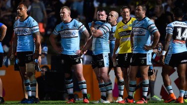 Downcast: The Sharks look on in-goal waiting for a conversion attempt by the North Queensland Cowboys.