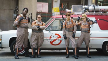 Under attack: <i>Ghostbusters</i>' Patty Tolan (Leslie Jones), Abby Yates (Melissa McCarthy), Erin Gilbert (Kristen Wiig) and Jillian Holtzmann (Kate McKinnon).