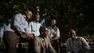 (Clockwise from left) Boing Deng Boing, Agok Takpiny, Michael Apout, Kastro Chol-Mengistu and Robert Aduer are members of the South Sudanese community who want to change perceptions as part of the #AfricanGangs campaign.