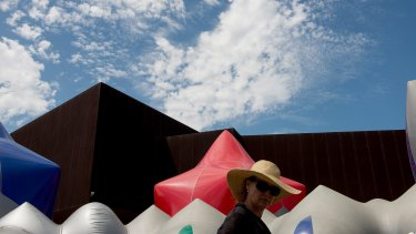 """Blue: The exterior of Exxopolis, a giant, inflatable """"luminarium"""" on the forecourt of ACCA."""