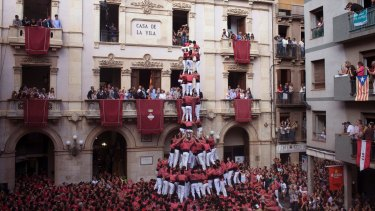 A castell, or human tower, being built in the Catalonian town of Valls in 2014.