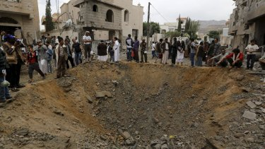 A crater at the site of a Saudi-led coalition air strike in Sanaa.