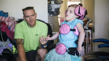 Trevor Dell with 3-year-old daughter Abbey who suffers a rare genetic disorder CDKL5.