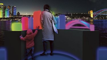 Children can create their own colourful cityscape at the Dress Circle in Circular Quay.
