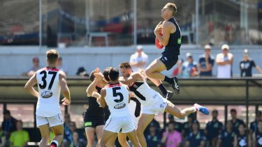 A spectacular mark from Carlton's Liam Jones was a highlight for the Blues.