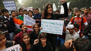 Indian students protest in Delhi after the brutal gang rape of Jyoti Singh Pandey in 2012.