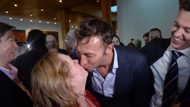 Magda Szubanski and Ian Thorpe at Parliament House on Thursday night.