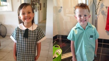 Seven-year-old twins Sienna, left, and Hudson were trapped in the wreckage.