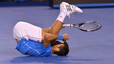Down but not out: Novak Djokovic.