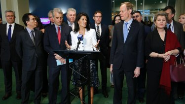 US ambassador to the United Nations Nikki Haley, centre, leads a boycott of nuclear weapons talks by diplomats from 20 nations, including Australia.
