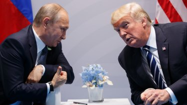 US President Donald Trump and Russia President Vladimir Putin during their formal G20 meeting in Hamburg.