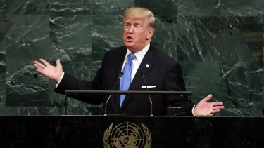 Sovereignty: US President Donald Trump addresses the United Nations General Assembly on Tuesday.