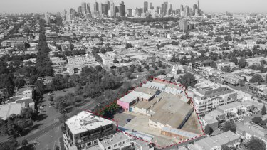 The site at 26-56 Queens Parade, North Fitzroy, where almost 500 apartments are planned by developer Gurner.