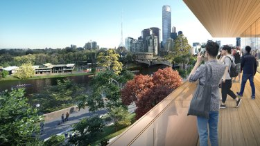 The view from the Fed Square Apple store balcony.