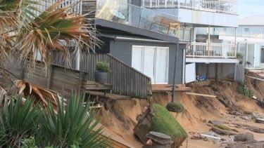 Tony Cagorski's house teeters on the edge on Collaroy Beach.