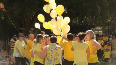 Yellow balloons were released in honour of Stephanie Scott on April 11.