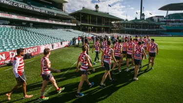 Swans players walk out onto the SCG to show solidarity for Adam Goodes at the club press conference on Thursday.