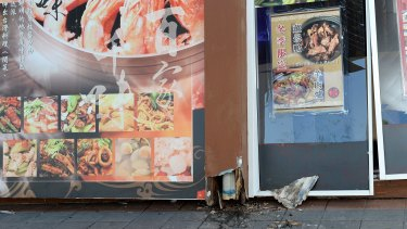 The front wall of the Glamorous Wok was blown out by a vapor blast caused by pest bombs.