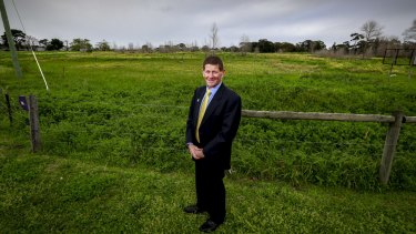 Kingston mayor Geoff Gledhill at the proposed location for a new cemetery at the corner of Old Dandenong and Boundary Rd in Heatherton.