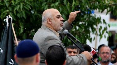 Hizb ut-Tahrir leader Ismail Al-Wahwah speaking at a rally.