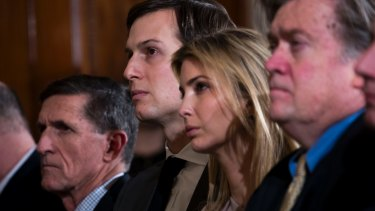 Jared Kushner and his wife Ivanka Trump at the White House during the visit of Japanese Prime Minister Shinzo Abe. At left is National Security Adviser Michael Flynn; at right is Steve Bannon.