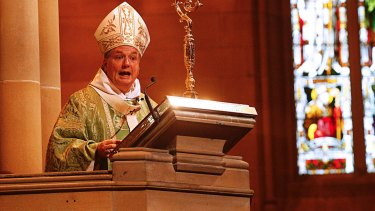Anthony Fisher delivers his homily at St Mary's Cathedral.