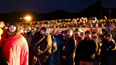 Australians and New Zealanders attend the Dawn Service as part of the ANZAC Commemorative Service on April 25, 2015, in Eceabat, Turkey.