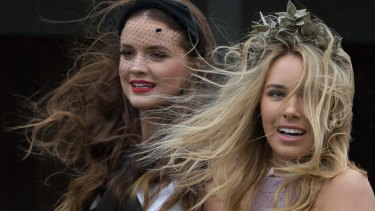 Models are blown away by the Melbourne Cup Carnival launch.
