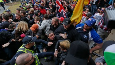 United Patriot Front supporters and counter-protesters clash in Bendigo on Saturday.