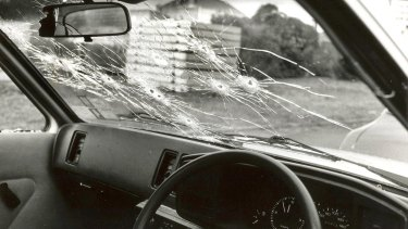 A victim's car at the scene of the Hoddle Street massacre in Clifton Hill, Melbourne on August 9, 1987.