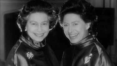Princess Margaret, right, celebrates her 50th birthday on August 21, 1980 with Queen Elizabeth II.