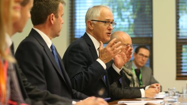 Malcolm Turnbull at a cyber-security meeting in Parliament on May 31.