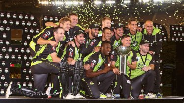 Big success: Sydney Thunder players celebrate their win over the Melbourne Stars in the final off the 2015-16 Big Bash League.