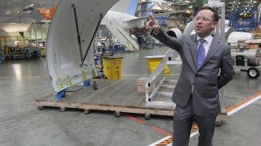 Qantas CEO Alan Joyce at Boeing's 787 facility in the US.