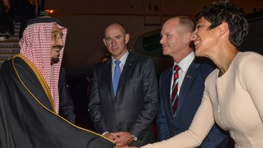 Saudi Arabia's Crown Prince Salman bin Abdulaziz is welcomed by Queensland's Premier Campbell Newman and his wife Lisa Newman at the G20 Terminal in Brisbane.