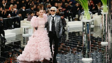 Lily-Rose Depp closes the Chanel SS17 show during Paris Fashion Week on January 24.