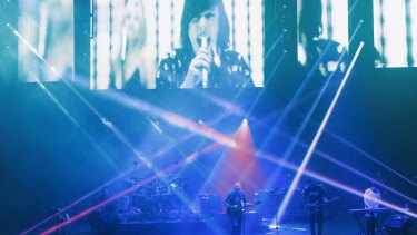 Blue (Monday) light disco - New Order at Sydney Opera House for Vivid Live
