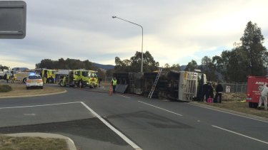 The sheep truck accident on Tharwa Drive.